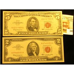 "Series 1963 Two Dollar and Five Dollar United States Notes with  ""Red Seals"""