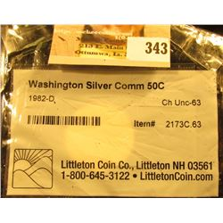 1982 D Washington Silver Commemorative Half Dollar. CH Unc-63 graded and sealed in Littleton Coin Co