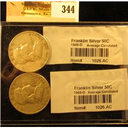 1948 D & 49 D Franklin Silver Half Dollars graded and sealed in Littleton Coin Co. cellophane.