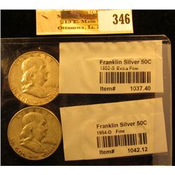 1952 S & 54 D Franklin Silver Half Dollars graded and sealed in Littleton Coin Co. cellophane.