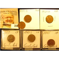 Weird wide rimmed 1927 P Cent; high grade 1937 P, 42 S, & 45 P Cents; 1919S Cent; & a Rare 1924 D Li