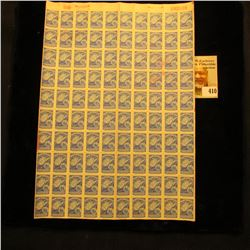 100-Stamp Sheet of Mint unused West Virginia Liquor Control Commission Stamps with a pink backing. S