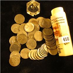 (50) 1943 World War II Steel Cents in a hexagonal plastic tube. Circulated.