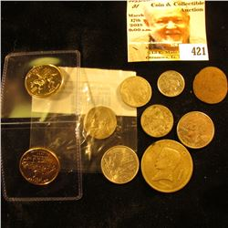 Gold-plated New Jersey & Delaware Statehood Quarters; & (8) other various coins including a Silver W