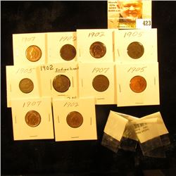 Group of (12) Various Indian Head Cents in holders, including Littleton cellophane.