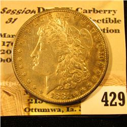 1881 S U.S. Morgan Silver Dollar, original toned almost Uncirculated.