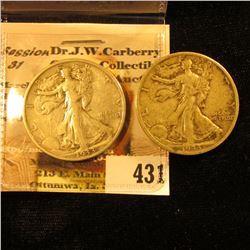 Pair of 1933 S Semi-key Date Walking Liberty Half-Dollars, Fine to VF.