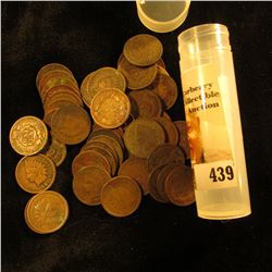 (50) Old U.S. Indian Head Cents. Mixed date in a plastic tube.