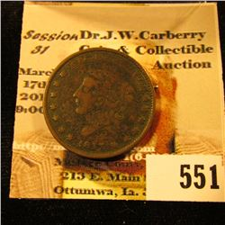 "1837 ""Millions For Defense Not One Cent for Tribute"" Hard Times Token."