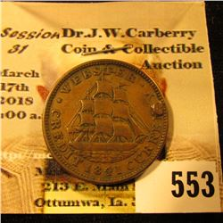"""1837 Van Buren Metallic Current"", ""1841 Webster Credit Current"" Hard Times Token. Partially holed."