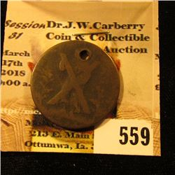 1791 holed Scotland Token depicting St. Andrew with cross. Lathian, Edinburgh. Reverse depicts Edinb