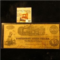 "September, 1862 $100 ""The Confederate States of America"" Banknote depicting train, c., Richmond, Va."