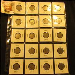 20-Pocket plastic page with (16) Liberty & (4) Buffalo Nickels. All with good readable dates.