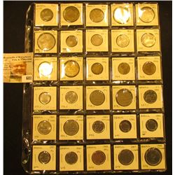 "Collection of (30) Brazillian Coins in a 1 1/2"" x 1 1/2"" 30-pocket plastic page."