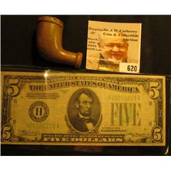 "Clay Indian Trade Pipe, no fluting; & Series 1934 $5 Federal Reserve Note ""H"" St. Louis, Missouri, p"