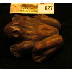 "2 1/4"" x 2 1/4"" x 1"" ""What Cheer"" Pottery Clay Frog."