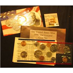"1996 P & D U.S. Mint Set with Rare ""W"" Roosevelt Dime. Original as issued. Issued at $8.00, this set"
