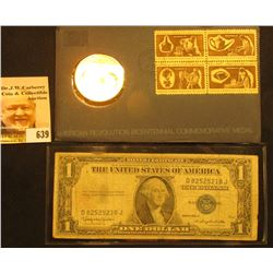 1972 Bicentennial First Day Cover with Brass Medal and Postage Stamps; & Series 1935 H U.S. One Doll