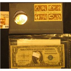 1972 Bicentennial First Day Cover with Brass Medal and Postage Stamps; & Series 1935 A U.S. One Doll