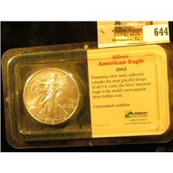 2002 U.S. Silver American Eagle One Ounce .999 Fine Silver Dollar in an original Littleton Coin hold