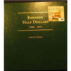 1988-2004 Partial Set of BU & Proof Kennedy Half Dollars in a deluxe Littleton Custom Coin Album. In