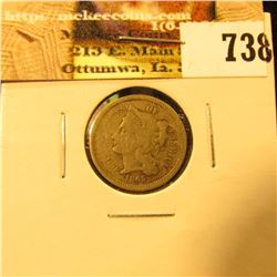 1865 U.S. Three Cent Nickel, Good.