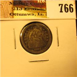 1842 O U.S. Seated Liberty Dime, VF, slight bend.
