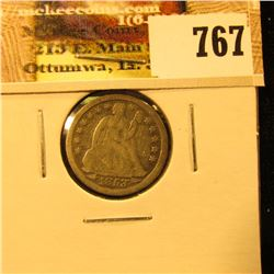 1853 U.S. Seated Liberty Dime, With Arrows, Fine.