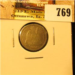 1874 With Arrows U.S. Seated Liberty Dime, Fine.