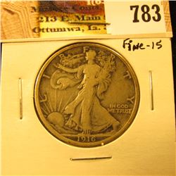 1916 P U.S. Walking Liberty Half Dollar, Fine.