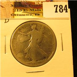 1916 D U.S. Walking Liberty Half Dollar, AG.