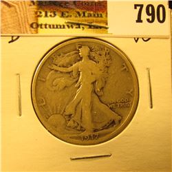 1917 Reverse D U.S. Walking Liberty Half Dollar, VG.