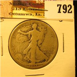 1917 Obverse S U.S. Walking Liberty Half Dollar, Good.