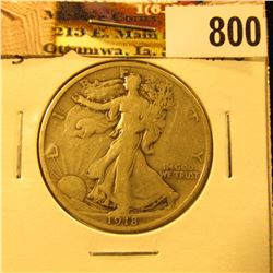 1918 S U.S. Walking Liberty Half Dollar, Fine.