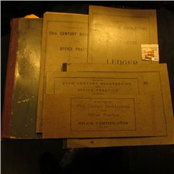 """1899 Rare Business School Work book with Currency Pages (has a """"Five Thousand Dollar"""" Denomination n"""