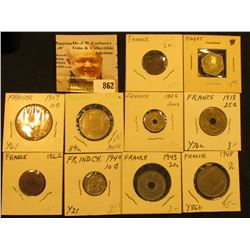 (10) Different Egyptian, French, & French Indo-china Coins, some in high grade. Catalog value of the