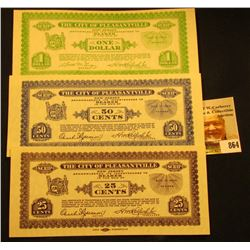 "Set of Three ""The City of Pleasantville, New Jersey"" Depression Scrip, Includes the .25c, .50c, & $1"