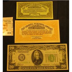 "Pair: ""Green Voucher"" & ""Gold Certificate"" ""The Crowell Publishing Company…Springfield, Ohio"", both"