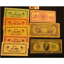 "(5) Piece Set of ""Elvis"" Currency $5,000, $10,000, $50,000, $100,000; & $500,000, all Crisp Uncircul"