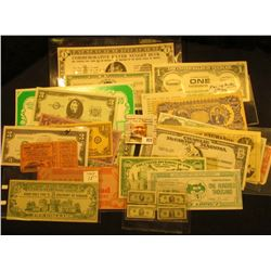 (27) Different pieces of funny money, Food Stamp Coupons, & etc. Includes a Commemorative Silver Nug