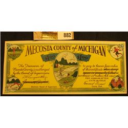 """Depression Scrip """"Issued under House Enrolled Act. No. 51, Regular Session of 1933"""" $1.00 """"Mecosta C"""