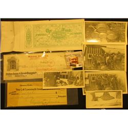 (3) Different Old Checks from the late 1800s to 1924; & (5) Original black and white Photos of Miner