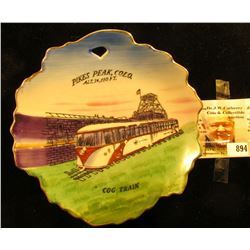 """Hand Painted/ENCO/N.Y.C./Made in Japan"" 6"" Porcelain Souvenir Plate ""Pikes Peak, Colo. ALT. 14,110"