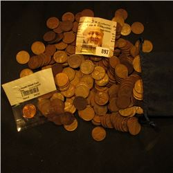 """World Reserve Monetary Exchange"" Felt Bag containing (350) Old Wheat Back Cents;"