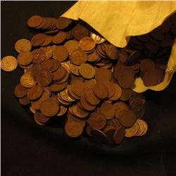 Over 3,170 San Francisco date United States Wheat Cents in a cloth money bag.