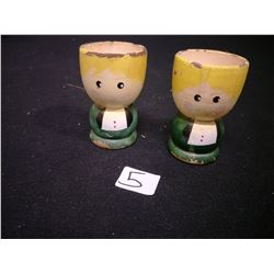 SET OF 2 WOODEN HAND PAINT ANTIQUE EGG CUPS