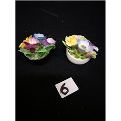 SET OF 2 MINIATURE POT OF FLOWERS MADE IN ENGLAND COAL PORT