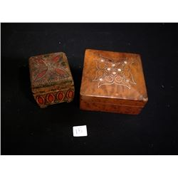 SET OF 3 WOODEN BOXES AND ONE SHELL BOXES