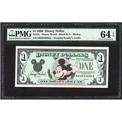 1990 $1 Disney Dollars Note PMG Choice Uncirculated 64EPQ