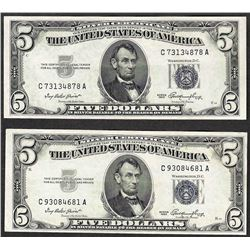 Lot of (2) 1953 $5 Silver Certificate Notes